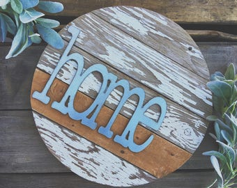 "16""  { home } Barnwood Round Galvanized Metal Home Decor Sign Farmhouse Style"