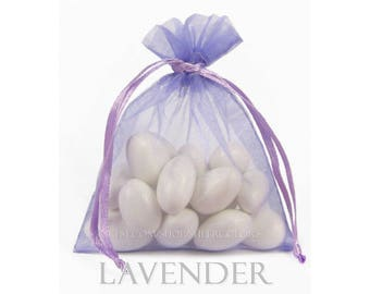 10 Light Purple Lavender Organza Bags, 8 x12 Inch Sheer Fabric Lilac Favor Bags
