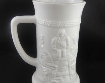 Milk Glass Tall Mug or Stein with Scene of Men at a Bar