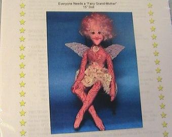 "SPARKLE FAIRY GRANDMOTHER~Barb Keeling~Rare 2001~15"" cloth art doll pattern"