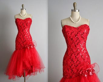 80's Prom Dress // Vintage 80's Strapless Red Sequin Tulle Cha Cha Cocktail Party Prom Dress