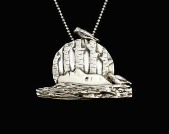 Sterling Moon Jewelry, Silver Forest Jewelry, Unusual Jewelry Gift For Women, Robin Wade Jewelry, Moon Dreaming Under Spruce, Pendant, 2339