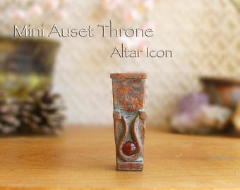Miniature Throne of Auset Symbolic Altar Icon with Carnelian Cabochon - Egyptian Goddess Auset - Handcrafted - Aged Copper Patina Finish