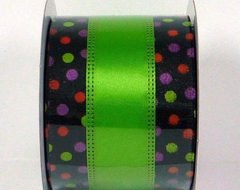 ON SALE 2.5 Inch Black Lime Purple Orange Dots X740240-09, Deco Mesh Supplies