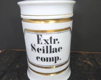 Vintage White Porcelain Apothecary Jar with Lid, Pharmacy, Chemist, Medicinal, Gold Trim, Extract Scillae Compound