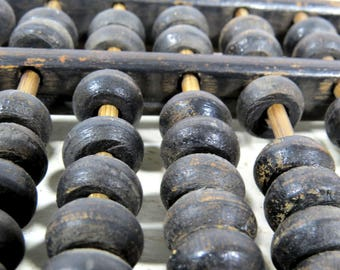 Primitive Japanese Soroban Abacus Wood and Brass Ancient Math Calculator Rustic Office & Home Decor