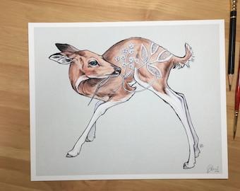 Oh Deer - 8 x 10 Print of original watercolor