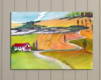 Tuscany, Italian Landscape Original large painting, Tuscany countryside, wine country. SALE price