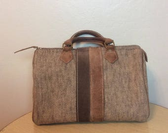 French Luggage Company Canvas & Suede Speedy Style Doctor Bag / Purse