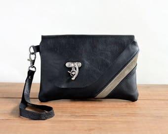 Unique Leather Clutch Purse, Wristlet Wallet iPhone, Mini Leather Purse, Smartphone Wristlet, Cell Phone Purse, Minimalist Modern Bag