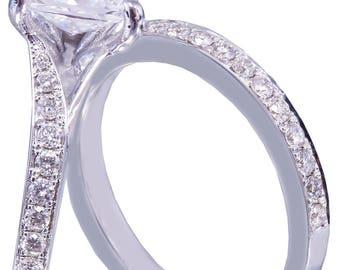 14k White Gold Princess Cut Moissanite and Diamond Engagement Ring And Band Bridal Wedding Anniversary Natural Diamonds 2.10ct