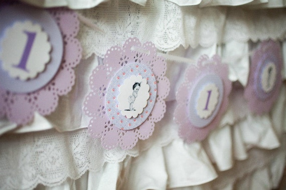 Lavender Lace Birthday Party Banner - READY TO SHIP