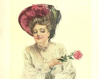 Christy Girl American Girl Victorian Lady With Red Rose THE TEASING GIRL Antique Litho 1906 The American Girl Howard Chandler Christy