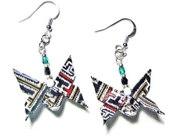 Butterfly earrings multicolor ORIGAMI