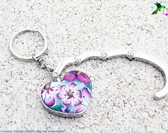 Hanging bag and key ring flower bouquet polymer clay fimo