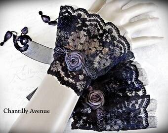 Black Lace Cuffs, Victorian Cuff Lace Bracelets, Black Gothic Cuffs, Victorian Jewelry, Lace Jewelry