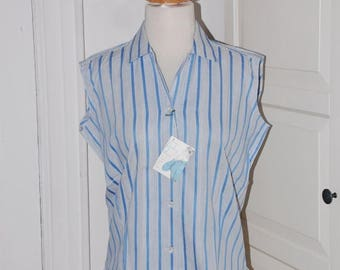 "ON SALE 50s Blouse, Deadstock, Blue White Stripe, Sleeveless, Summer, NWT, ""A Gabey Original,"" Size Large"