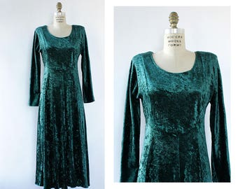 90s Velvet Dress S/M • Green Velvet Maxi Dress • All That Jazz Dress • Velvet Maxi Dress Long Sleeve • Long Sleeve Velvet Dress | D1616
