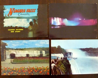 Vintage Niagara Falls Canada Colored Pictures and Story Book + 3 Oversized Postcards - Travel Souvenir