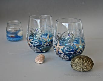 Stemless Glasses, Wine Glasses, Beach Wedding Glasses, Seahorses Glasses, hand Painted, set of 2