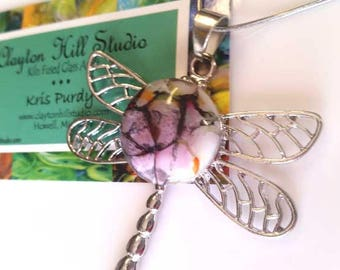 Dragonfly PenDot Necklace - fused glass