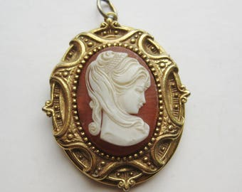 Large Vintage 60s Victorian Revival Cameo Locket Necklace Pendant