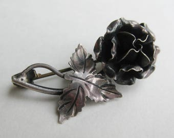 Vintage 40s Mexican Taxco Sterling Silver Every Rose Has It's Thorn Brooch Pin