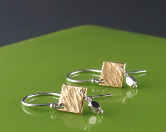Petite Brass and Sterling Silver Dangle Earrings-Handmade