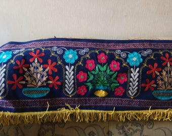 bek silk embroidery on blue velvet suzani. Wall hanging, table runner, home decor suzani. SW011