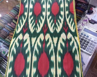 Uzbek traditional cotton woven ikat fabric Pomegranates by meter. Tribal, ethnic, boho fabric