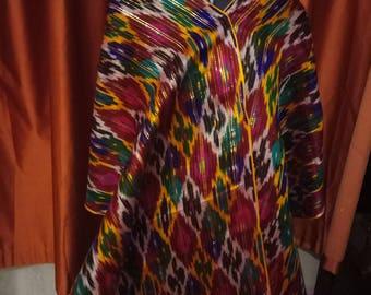 Uzbek vintage pure silk ikat fabric Han atlas 387cm. VMI004