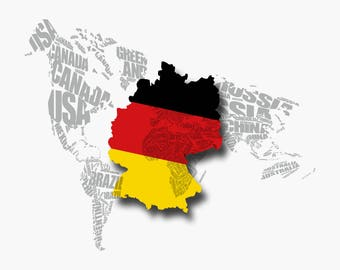 World Map - Germany Map - German Flag - Typography - Print - Poster