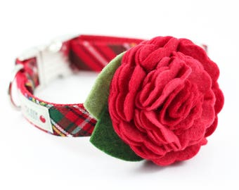 Holiday Red Tartan Dog Collar with Flower