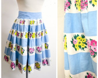 1950s Blue & white stripe pleated full cotton skirt / 50s pink yellow floral full day skirt - XS