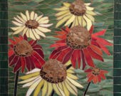 Stained Glass Mosaic Coneflowers, Echinacea in Bloom, 12x12""