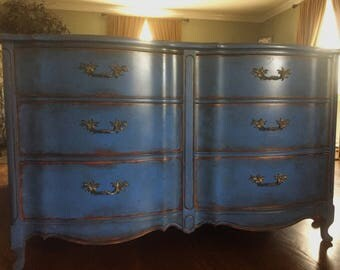 French dresser in a chippy distressed glazed blue
