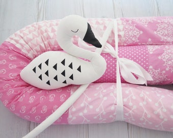 Baby Bumper , Crib Bumpers , Pink Baby bedding , Snake Pillow , Bumper Bed Pillow