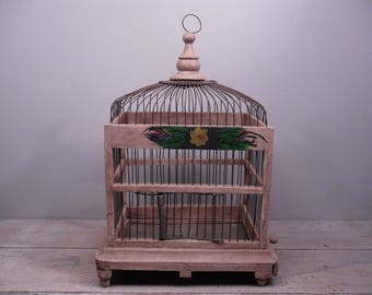 vintage birdcage / wood and wire / handpainted bird cage