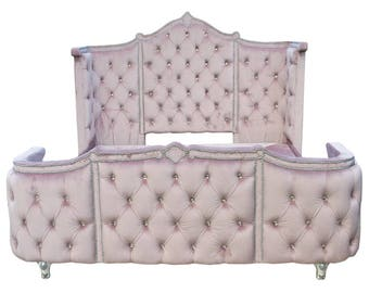 Tufted French Bed Haute House Inspired Curved Footboard and Headboard Any Fabric King Queen Full Twin Velvet Crystal Tufting BY CUSTOM ORDER