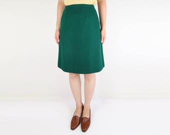 VINTAGE 1960s Green Skirt Short Aline Wool