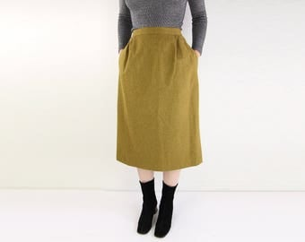 VINTAGE Wool Skirt Olive High Waist Pockets