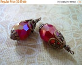 SALE BD143 Vintage Style Wire wrapped capped dangle charms Red Luster Crystal  2 pcs.