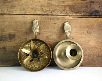 Vintage Brass Pineapple Candle Holders, set of 2