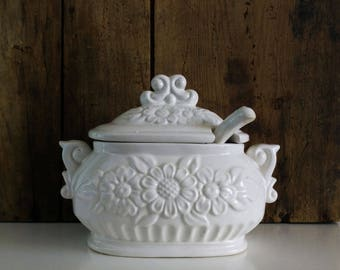 Small Ironstone Tureen with Ladle / Gravy or Sauce Serving Bowl with spoon