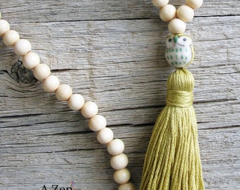 Wisdom Meditation Mala, Owl Guru Bead, Yoga Jewelry, Tassel Mala, Focus Jewelry