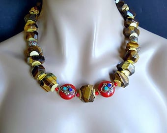 New! Nepalese Chunky Tigers Eye Nugget Statement Necklace on Gold Gift for Her