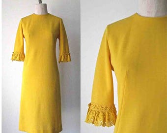 Vintage 1960's Jonathan Logan mod shift dress GOLDEN YELLOW crochet sleeve - S/M