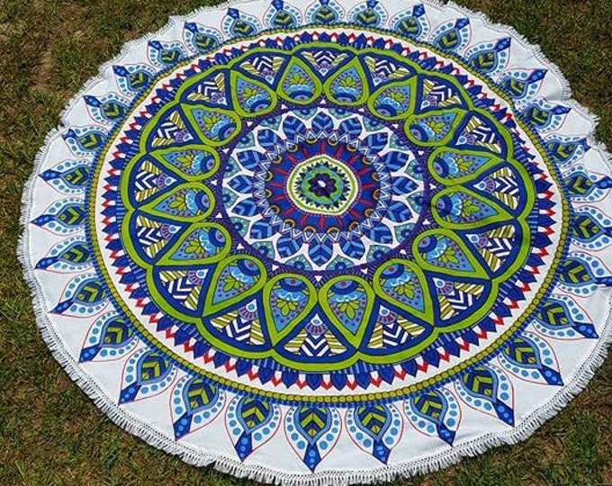 Lime Green and Purple Mandala Roundie with White Fringe Mandala Tapestry Beach Blanket Yoga Mat Meditation Mat Dorm Decor Hippie Tapestry