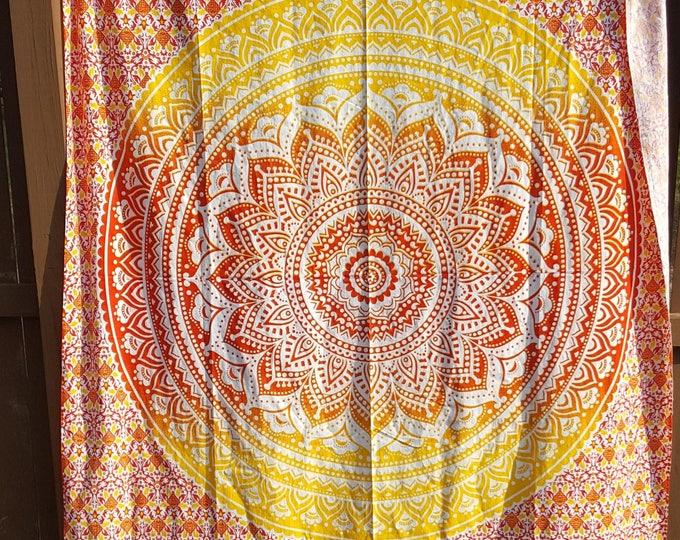 Red Orange Yellow Ombre Mandala Tapestry Boho Hippie Tapestry Wall Hanging Beach Blanket Yoga Meditation Mat Dorm Decor Music Festival