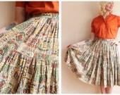 1950s Skirt // Novelty Print Alex Coleman Skirt // vintage 50s skirt